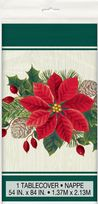 Red & Green Poinsettia Christmas Plastic Tablecover